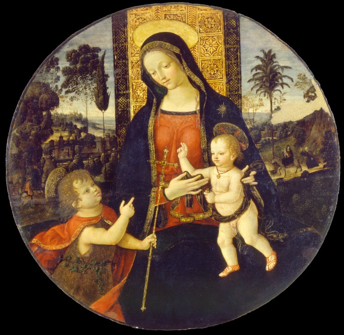 Bernardino_di_Betto_called_Il_Pinturicchio_and_workshop_-_The_Virgin_and_Child_with_the_Infant_Saint_John_the_Baptist_-_Google_Art_Project 2